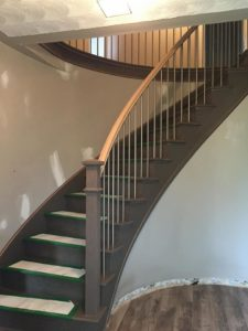 Curved Staircase Being Installed by Scotia Stairs Limited